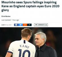 穆里尼奥:凯恩在热刺的失败 有助于他带领英格兰争取欧洲杯夺冠